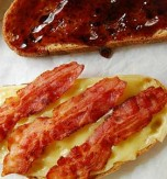 Bacon, cheese and mustard open-faced sandwich