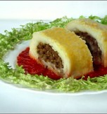 Potato roll with beef filling