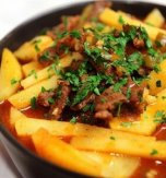 Stewed beef and potato with tomato sauce