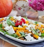Warm pumpkin and lentils salad