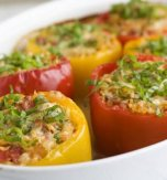 Bell peppers stuffed with rice and fried onion