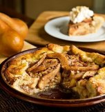 Crispy spiced pear pie with vanilla whipped cream