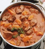 Meat stew with beans and pumpkin