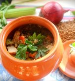 Stewed pork and buckwheat in pots