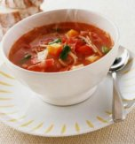 Potato soup with green beans and tomatoes