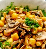 Warm beef heart and mushroom salad