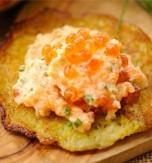 Potato Flapjacks with Salmon Paste