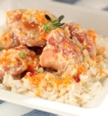 Pork with Vegetable Mix and Cream Sauce