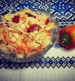 Cabbage, carrot, bell pepper, and onion salad