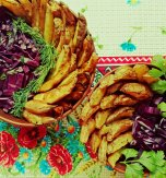 Roasted potato wedges with purple cabbage