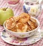 Thick pancakes with apples