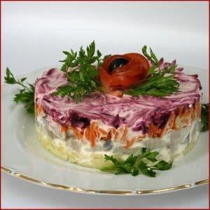Beet salad with herring