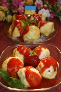 Homemade cheese balls with strawberry