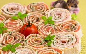 Salmon and cream cheese roulade