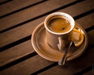 Black coffee with lemon