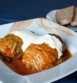 Ukrainian style cabbage rolls stuffed with pork and rice