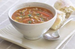 Meat soup with tomatoes