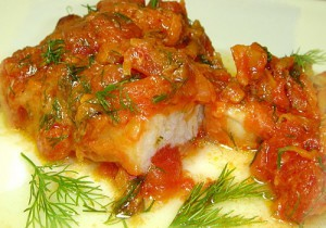 Baked fish with mushrooms