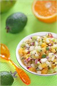 Melon salad with peaches and orange
