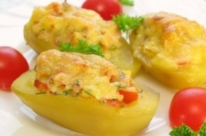 Roasted potato with chicken and cheese filling