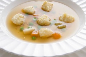 Chicken and carrot soup with dumplings