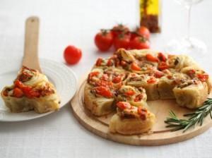 Cheese and cherry tomato pie