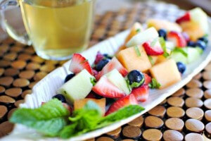 Strawberry, melon, and bilberry salad