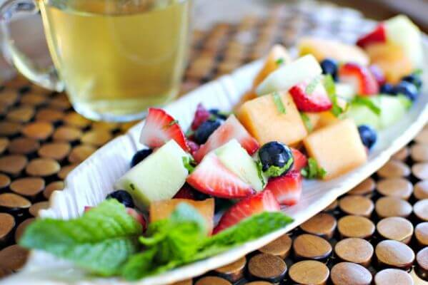 fruit salad with wine syrup