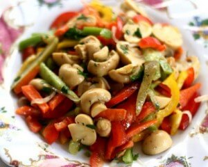 Pickled mushroom and tomato salad