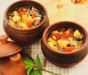 Catfish, potato, and tomato soup
