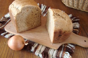 Homemade bread with onion and garlic