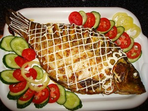 Fish with mushroom and carrot filling
