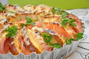 Tomato, ham, and cheese appetizer