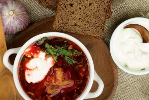 Beetroot, bacon, and potato soup