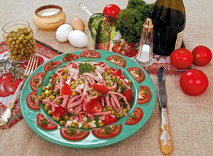 Ham, cucumber, tomato, and green peas salad