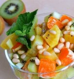 Fruit salad with golden kiwi fruit