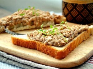 Pink salmon, cheese, and egg appetizer