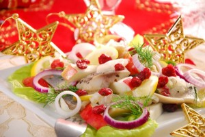 salad with herring and cranberry