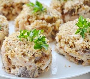 Calamari, mushroom, and walnut salad