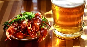 Boiled crawfish with white wine and tomato juice