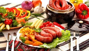 Pork and beef homemade sausages with salo