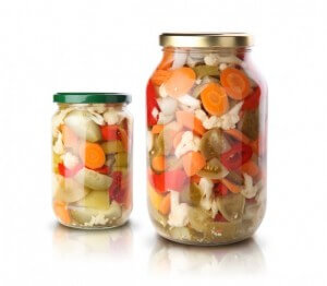 Pickled tomato, cucumber, pepper, and carrot
