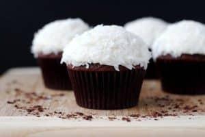 Chocolate cupcakes with vanilla