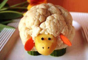 Cauliflower, potato, carrot, and cucumber appetizer