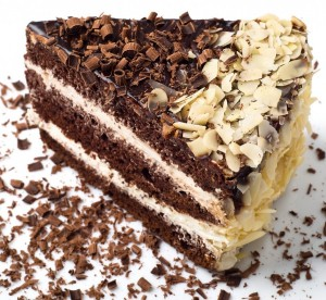 Chocolate cake with walnuts