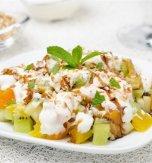 Fruit salad under vanilla sauce