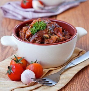 Boiled goose with vegetables