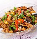 Warm shiitake mushroom and eggplant salad