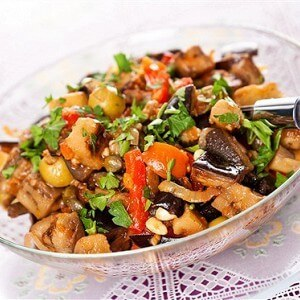 Oyster mushroom salad with tomatoes and eggplants