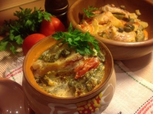 Baked fish with veggies